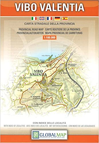 Provincial Map Of Italy.Vibo Valentia Calabria Italy Provincial Road Map 1 100 000