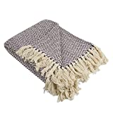 """DII Rustic Farmhouse Cotton Chevron Blanket Throw with Fringe For Chair, Couch, Picnic, Camping, Beach, & Everyday Use , 50 x 60"""" - Mini Chevron Eggplant"""