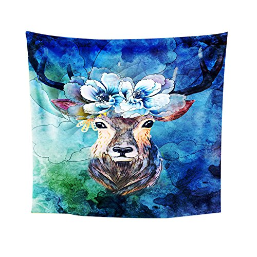 Fashion Elk Print Wall Hanging Tapestry Beach Picnic Throw Yoga Mat Towel Blanket(E1,One Size)