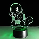 3D Illusion LED Night Light,7 Colors Gradual Changing Touch Switch USB Table Lamp for Holiday Gifts or Home Decorations (Squirtle)
