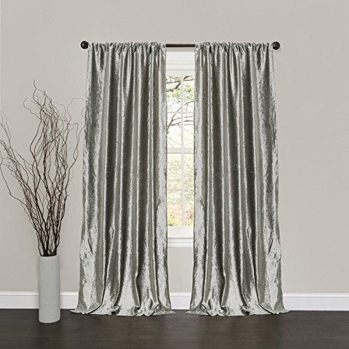 Super Soft Luxury Vintage Velvet Set of 2 Silver Gray |Silver Gray Classic Blackout Curtains Panels Home Theater Drapes 50W x 96L-inch Silver Gray (2 panels)