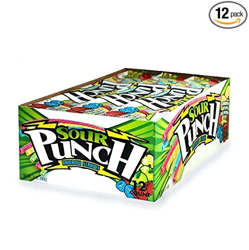 Sour Punch Rainbow Sour Straws 2oz Trays (12 Pack)