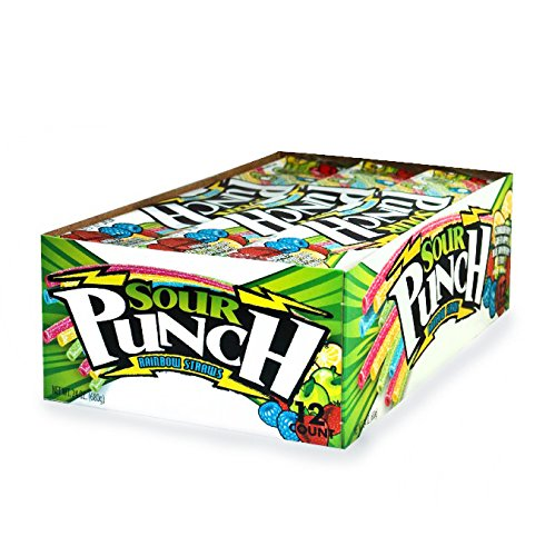 Sour Punch Rainbow Sour Straws, 2oz Tray (12 Pack)