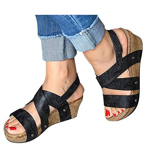 Kinrui Women Shoes Womens Platform Wedges Sandals Cutout Belt Open Toe Slingback Faux Leather Cork Heel Ankle Bootie (Black -3, US:9.5)