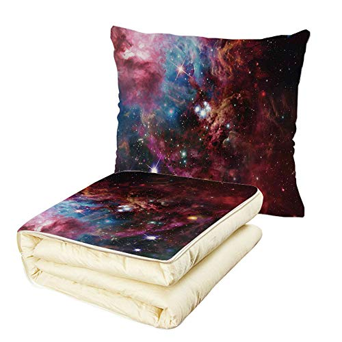 Quilt Dual-Use Pillow Space Decorations Space Nebula with Star Cluster in The Cosmos Universe Galaxy Solar Celestial Zone Multifunctional Air-Conditioning Quilt Teal Red Pink by iPrint