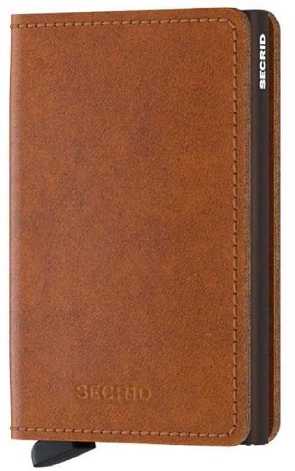 SECRID - Secrid Slim wallet Genuine Original Cognac Leather Brown RFID Safe Card Case for max