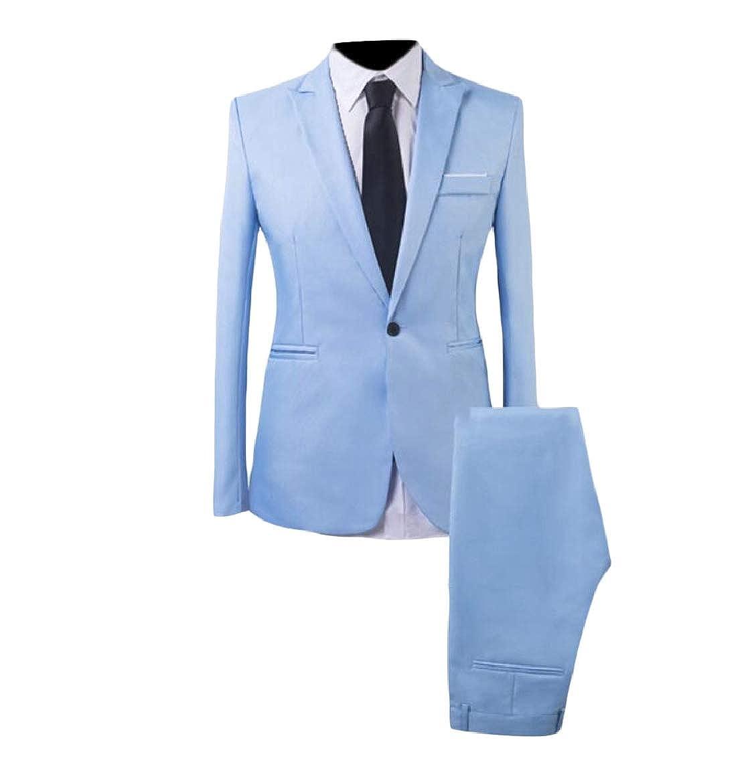 1 pujinggeCA Men's Suit SingleBreasted One Button 2 Pieces Slim Formal Suits