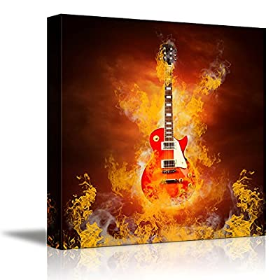 Rock Guitar in Flames of Fire Concept of Musical Instrument of Enthusiasm Passion - Canvas Art Wall Art - 12