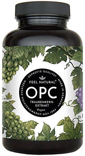 OPC Traubenkernextrakt - 240 Kapseln - Höchster OPC Gehalt nach HPLC - Laborprüftes OPC aus französischen Weintrauben - 860mg Extrakt mit 620mg OPC - Vegan, made in Germany