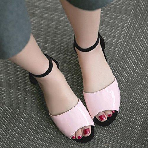 TAOFFEN Mujer Moda Peep Toe Hebilla Correa de Tobillo Tacon de Cuna Verano Sandalias Rosado