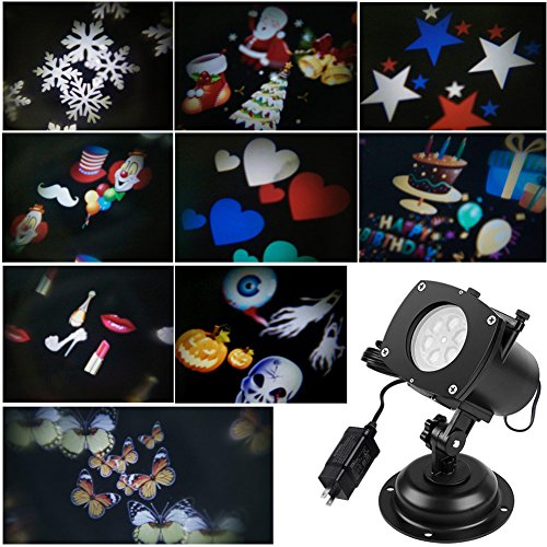 ARINO LED Projector Light Projector LED Landscape Decoration Lighting for Halloween Christmas Easter Birthday Holiday Party 12pcs Holiday Slides Waterproof (A)