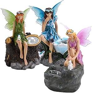 Fairy statue solar spotlights triple pack for Amazon uk fairy doors