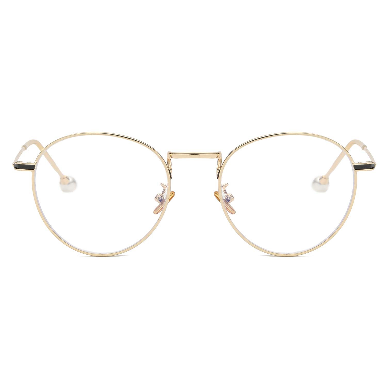 VANLINKER Clear Lens Eyeglasses Anti Blue Light Computer Reading Glasses VL9002 C1 Gold Frame with Pearl Tips