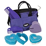 Tough-1 Grooming 8 Piece Crystal Heart Brush Kit Turquoise 90-23300