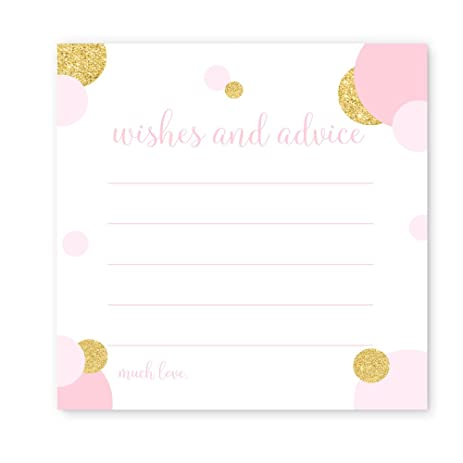 Advice And Wishes Baby Shower Game Card Pack Of 25 Blush And Gold Dot