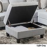 Christopher Knight Home 300124 Living Carolina Light Grey Fabric Storage Ottoman For Sale