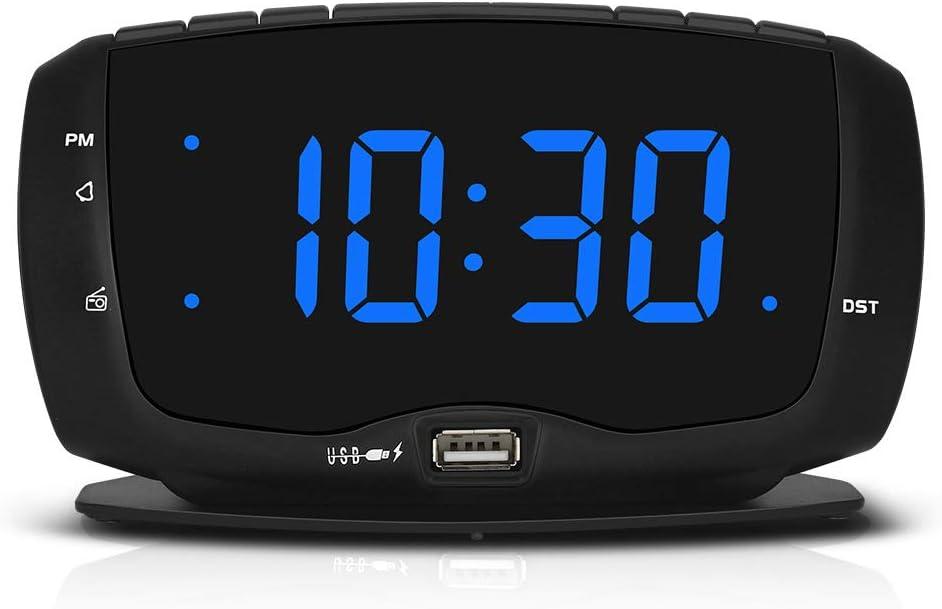 DreamSky Digital Alarm Clock Radio FM Radio, 1.4 Inches Large Blue LED Number Display, Dual USB Ports for Charging, 3.5 mm Headphone Jack, Snooze, DST