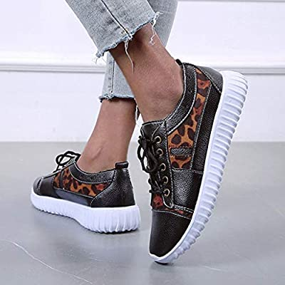 YiYLunneo Women Tennis Shoe Leopard Lightweight Breathable Sport Running Shoes Soft Bottom Sneakers Walking Shoes: Clothing