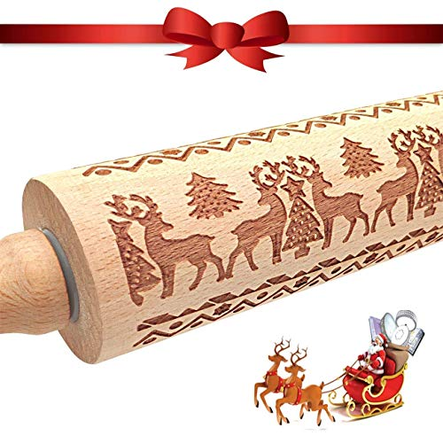 Christmas Wooden Rolling Pins Engraved Embossing Rolling Pin with Christmas Symbols for Baking Embossed Cookies Noodle Roller (Deer)