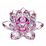 Amlong Crystal Flor de loto de cristal con caja de regalo, tono de gran calidad, 7,62 cm, azul, 3 pulgadas, Rosado, 1 uds. por paquete