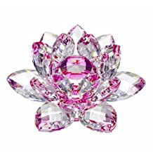 Amlong Crystal High Quality Hue Reflection Crystal Lotus Flower with Gift Box, Pink (3-Inch)