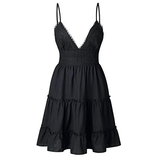 d8891c0c2352 Womens Sexy Lace V Neck Strappy Backless Mini Dress Casual Summer Beach  Sundress Party Swing Dresses at Amazon Women s Clothing store