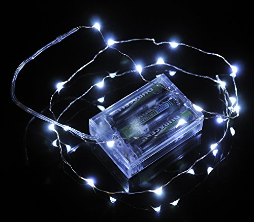 Fantado 20 White LED Micro Fairy String Lights, Wire (6ft, Battery Operated) by PaperLanternStore (Powered Lantern Pack Away Battery)