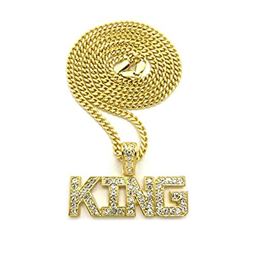 Iced out pendants amazon hip hop micro iced out king word pendant 24 various chain necklace in gold tone 3mm 24 cuban chain aloadofball Choice Image