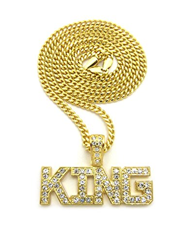 Gold Tone Crown (Crown Gold-Tone KING Pendant 18