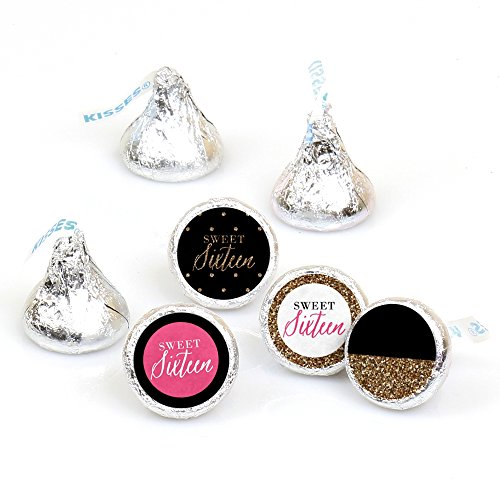 Chic 16th Birthday - Pink, Black and Gold - Round Candy Sticker Favors - Labels Fit Hershey's Kisses (1 Sheet of 108) -