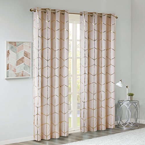 Madison Park Raina Total Blackout Metallic Print Grommet Top Window Curtain Panel Thermal Insulated Light Blocking Drape for Bedroom Living Room and Dorm, 50x84, Blush/Gold (Gold White Window Curtains And)