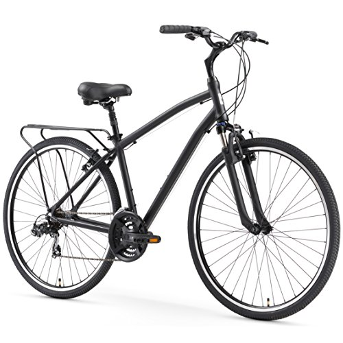 sixthreezero Body Ease Men's 21-Speed Comfort Road Bicycle, Matte Black, 26