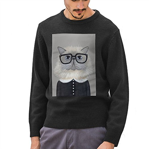 Hailin Tattoo Mens Knit Sweater Pullover 3D Printed Cat Girl Eyeglasses T Shirt Black Coat Pocket Pullover Sweater S-XXL Black - Printed 3d Eyeglasses