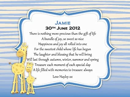 Personalizado para bebés recién nacidos Boy poema de desplazamiento ...