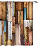 FOOG Colorful Wood Panels Shower Curtain by Fence Texture Barn Door Home Bathroom Decoration Polyster Fabric Mildew Resistant Waterproof -Blue Gray Maroon (70'' Wx78 L)