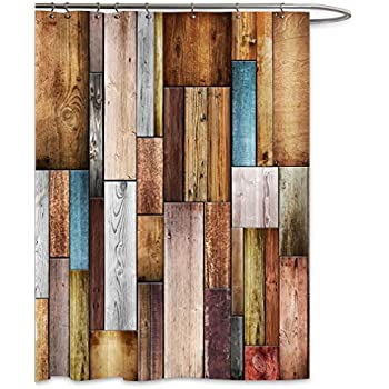 FKOG Colorful Wood Barn Door Shower Curtain Texture Panels Home Bathroom Decoration Polyster Fabric Mildew Resistant