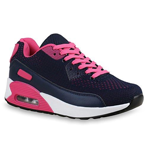 Stiefelparadies Damen Sportschuhe Modische Laufschuhe Sneakers Low Runners Trainers Leder-Optik Stoffmix Schuhe Profilsohle Bunte Freizeitschuhe Flandell Dunkelblau Pink