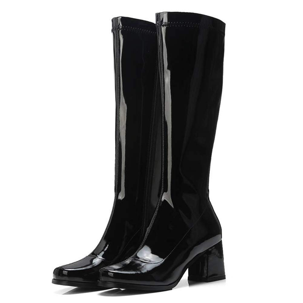 Black T-JULY Women's Patent Leather Boots Zipper Solid colors Knee High Heels Autumn Winter Ladies shoes