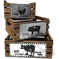 Wooden Crates Decorative Countertop Organizing Storage Utility Baskets (Set of 3)