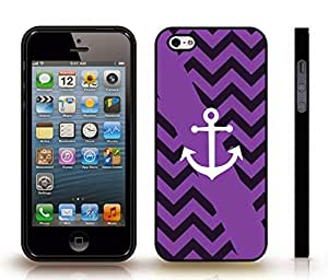 iStar Cases? iPhone 5/5S Case with Chevron Pattern Purple/ Violet Stripes, White Anchor , Snap-on Cover, Hard Carrying Case (Black)