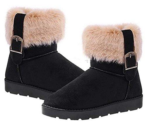 Eshion Donna Faux Suede Eco-pelliccia Caldo Inverno Neve Flat Stivaletti Pantofole Mule Nero