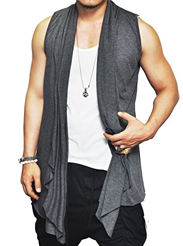 Coofandy Mens Ruffle Shawl Collar Sleeveless Long Cardigan Vest, Grey, X-Large