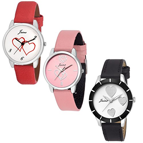 JAINX Analogue Women's Watch (White & Pink Dial Red, Pink & Black Colored Strap) (Pack of 3)