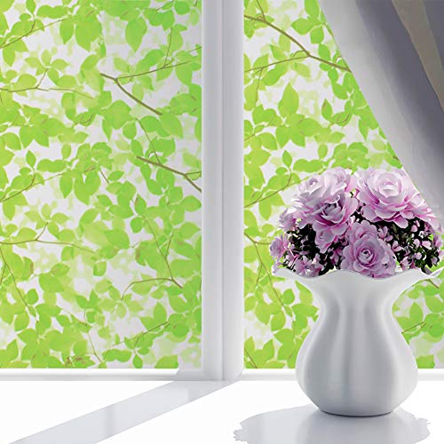 """ChezMax Decorative Privacy Window Film Frosted Glass Film Stained Glass Window Sticker with Glue Self Adhesive Glass Sticker Green Leaves 35.4""""X78.7"""""""
