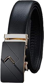 Xuanbao Cintura da Uomo Casual Cintura Regolabile per Cintura da Uomo con Fibbia Automatica, per Adattarsi al Classico cricchetto Wasit Formale (Colore : Gold Buckle Black Belt, Dimensione : 120cm)