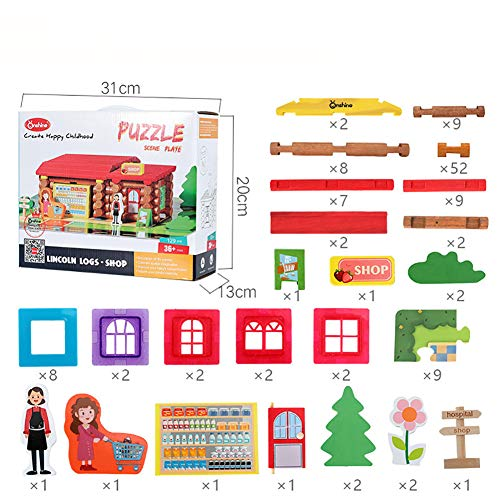 Alician Baby Forest Log Cabin Lincoln House Children Creative Puzzles Building Blocks Toy 129pcs Lincoln Red Store from Alician