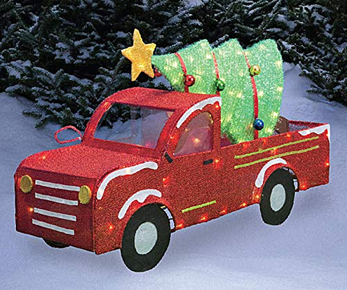33 Inch Wide - Light-Up Tinsel Truck Holiday Christmas Tree, Pre-Lit 100 Lights