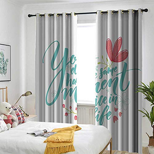 (one1love Inspirational Quotes Grommet Window Curtain Inspirational Word Theme Hand Drawn Flowers in Pastel Colors Print Embossed Thermal Weaved Blackout 72