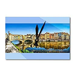 Lantern Press Tuscany, Italy - Ponte Vecchio with River Arno at Sunset in Florence A-9003147 (Acrylic Wall Clock)