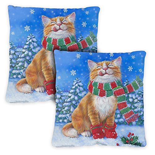 Toland Home Garden Decorative Kitten Mittens Winter Holiday Cute Snow Cat 18 x 18 Inch Pillow Case (2-Pack) from Toland Home Garden